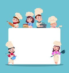 Little cooks cartoon children chef with big blank vector