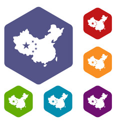 map of china icons set hexagon vector image
