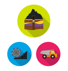 mining industry flat icons in set collection for vector image