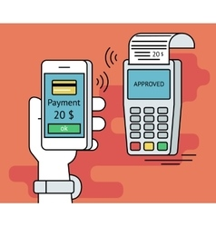 Mobile payment via smartphone vector