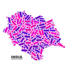 mosaic himachal pradesh state map of dots and vector image