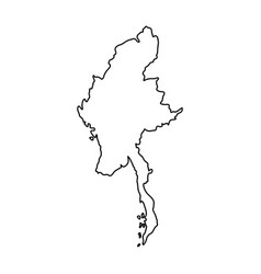 Myanmar map of black contour curves on white vector
