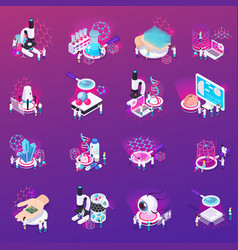 nanotechnology isometric icons set vector image