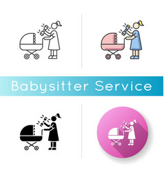 newborn experience icon woman with rattle toy vector image