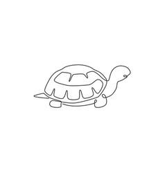 one single line drawing big land tortoise vector image