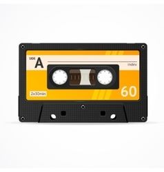 Orange Cassette Tape isolated vector image