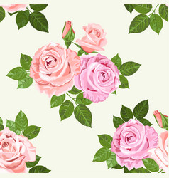 Pale pink and beige roses seamless pattern vector