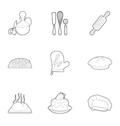 Pastries icons set outline style vector