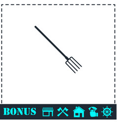 Pitchfork icon flat vector