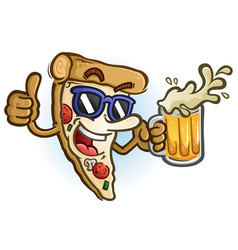 pizza cartoon wearing sunglasses holding beer vector image
