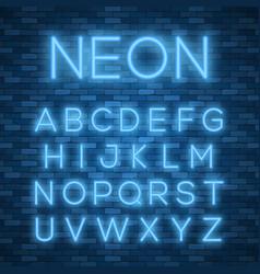 realistic neon alphabet bright neon glowing font vector image