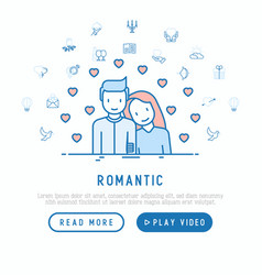romantic concept couple in love with hearts vector image