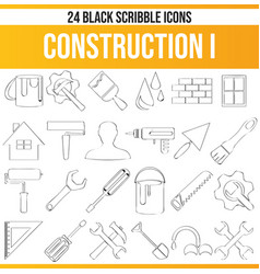Scribble black icon set construction i vector