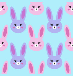 seamless kawaii pattern lovely hares on a blue vector image
