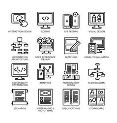 Seo accessibility usability - line icons set 2 vector