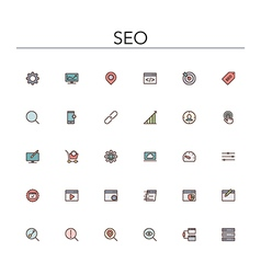 Seo colored line icons vector