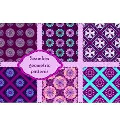Set of 6 geometric seamless patterns vector image