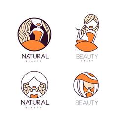 Set of original logos for beauty salon linear vector
