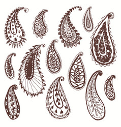 set paisley elements isolated on white vector image