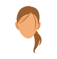 Silhouette face girl cartoon vector