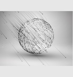 Sphere with connected lines and dots wireframe vector