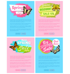 spring discount sale 15 off emblems on posters vector image
