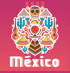 square composition with mexican fiesta elements vector image