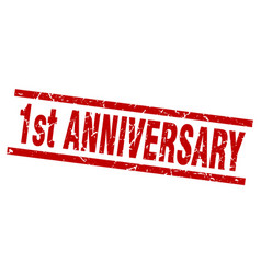 Square grunge red 1st anniversary stamp vector