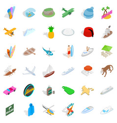 Summer adventure icons set isometric style vector