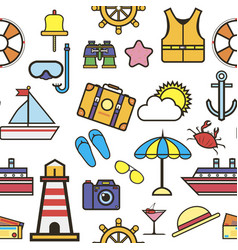 summer vacation to seaside holidays icons set vector image