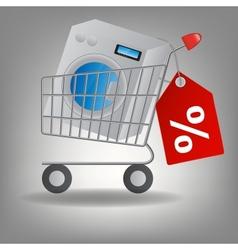 supermarket shopping cart with washing m vector image