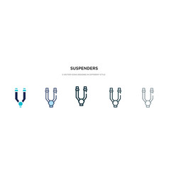Suspenders icon in different style two colored vector