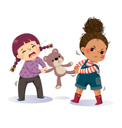 Two little girls fighting over a teddy bear vector