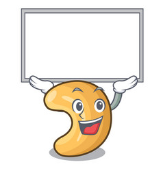 Up board character cashew nuts heap on cartoon vector