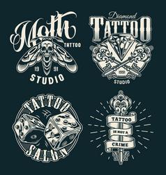 Vintage tattoo studio prints vector