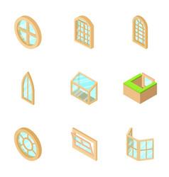 Window opening icons set isometric style vector