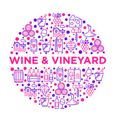 wine concept in circle with thin line icons vector image