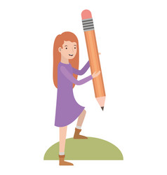 woman with pencil avatar character vector image