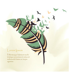 Writing pen multicolored feather vector