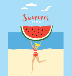 young running woman with big piece watermelon vector image