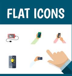 flat icon phone set of keep phone accumulator vector image vector image