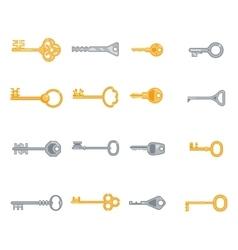 Key flat icons set vector image vector image