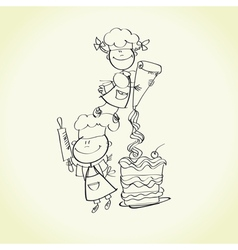 kid cooking vector image