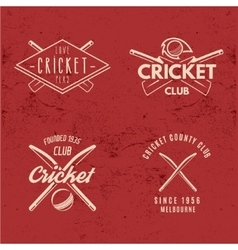 Set of Retro cricket club emblems design Cricket vector image