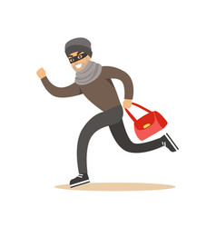 thief running with a stolen red bag colorful vector image
