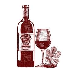 Wine Hand Draw Sketch vector image vector image