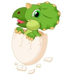 Cute dinosaur cartoon hatching vector image vector image