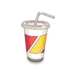 Cute hand-drawn cartoon style cup with drink vector image vector image