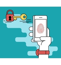 Fingerprint scanning on smartphone vector