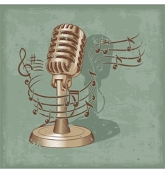 Old microphone made in grunge style vector image